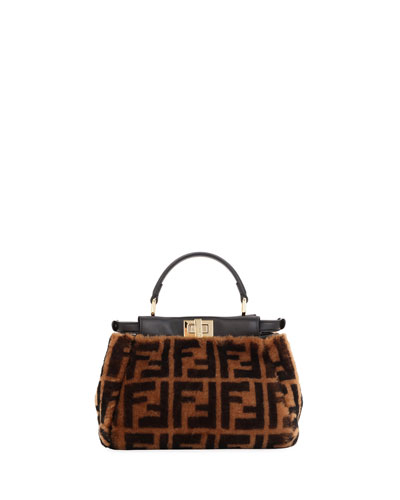 Peekaboo FF Shearling Top Handle Bag