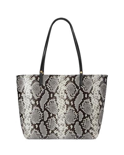 Tori Snake-Print Tote Bag