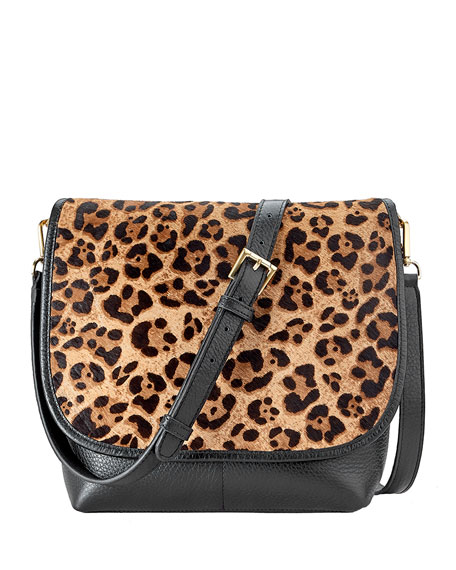 Gigi New York Andy Leopard Flap Top Crossbody Bag