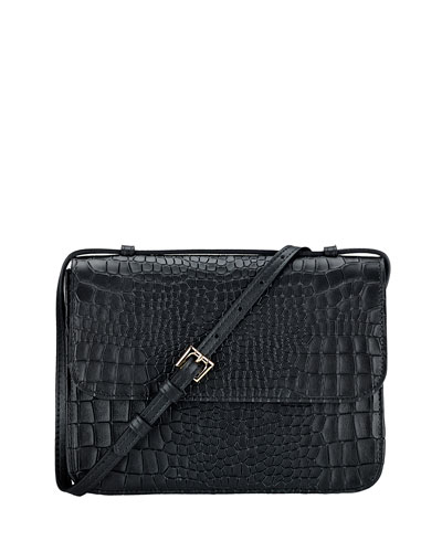 Abbott Croc-Embossed Leather Crossbody Bag