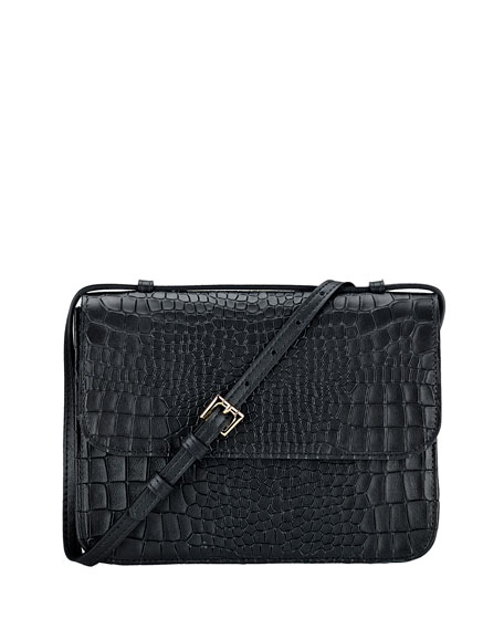 Gigi New York Abbott Croc-Embossed Leather Crossbody Bag