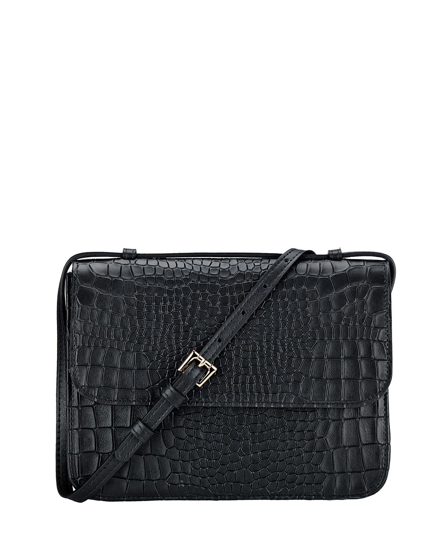 Abbott Croc-Embossed Leather Crossbody Bag