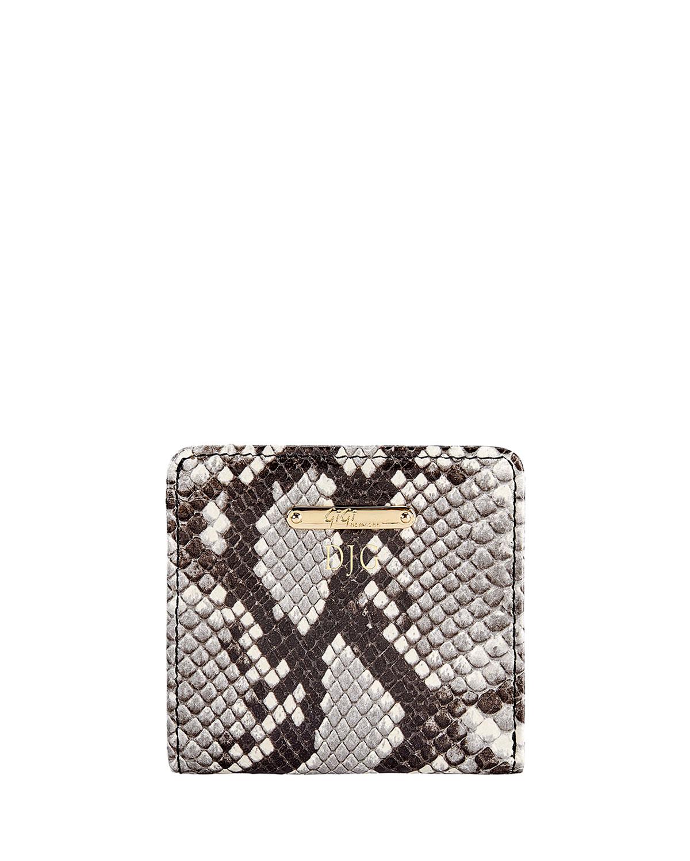 Python-Embossed Leather Mini Folding Wallet