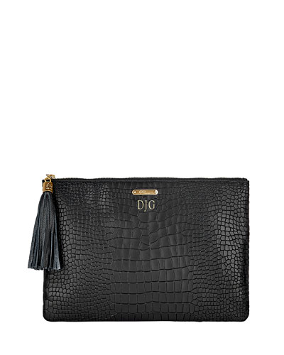 Uber Python-Embossed Leather Clutch Bag