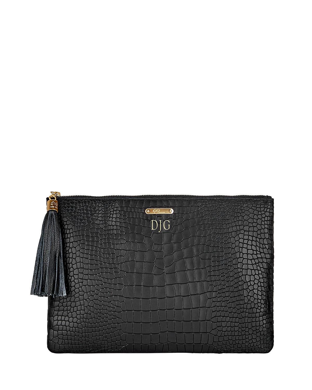 Uber Python-Embossed Leather Clutch Bag