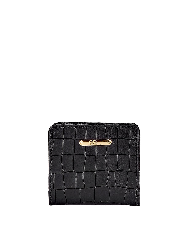 Mini Crocodile-Embossed Leather Folding Wallet
