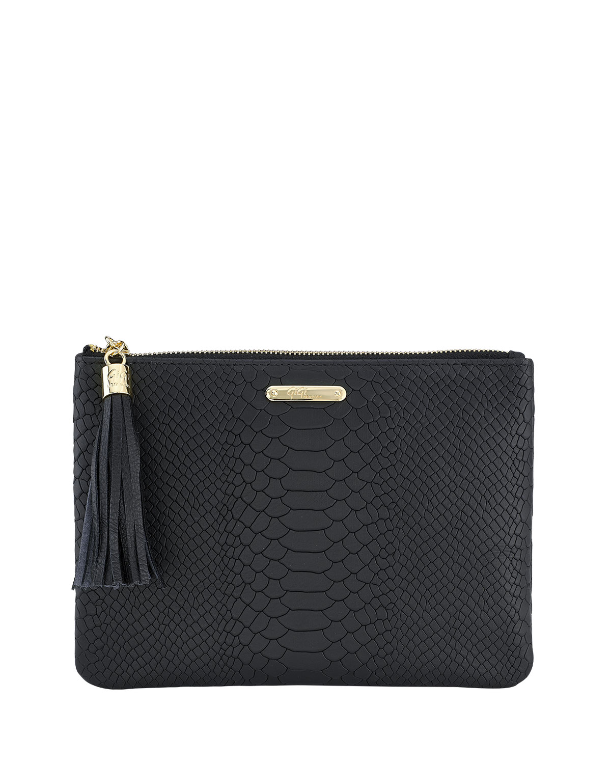 All In One Python-Embossed Clutch Bag