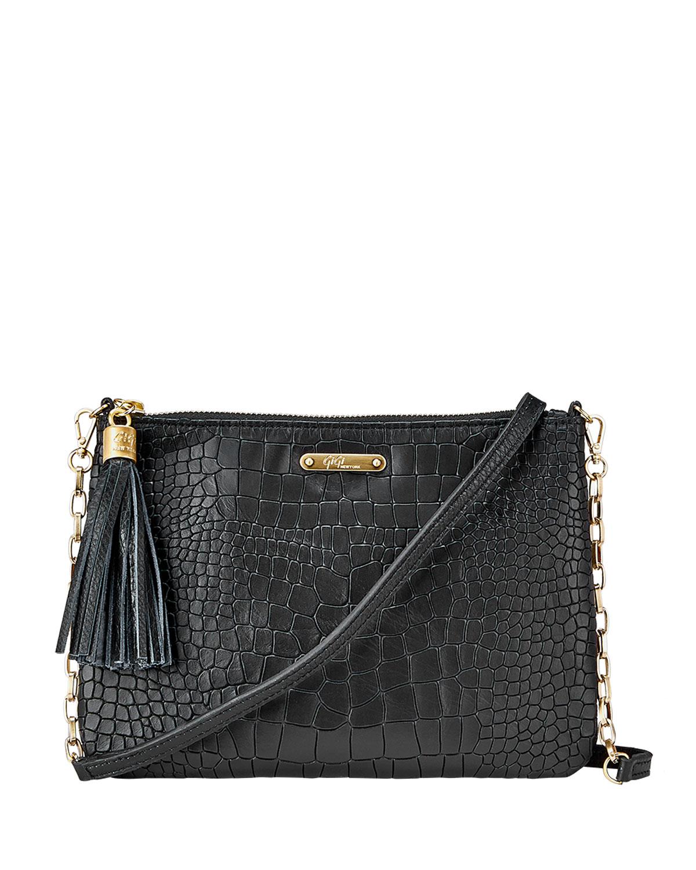 Chelsea Croc-Embossed Leather Crossbody Bag