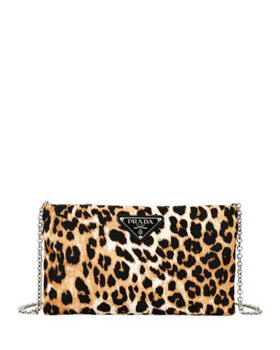 Small Tessuto Soft Leopard Clutch