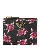 Prada Saffiano Rose Fold-Over Wallet w/ Zip