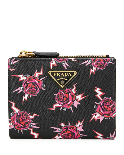 Saffiano Rose Fold-Over Wallet w/ Zip
