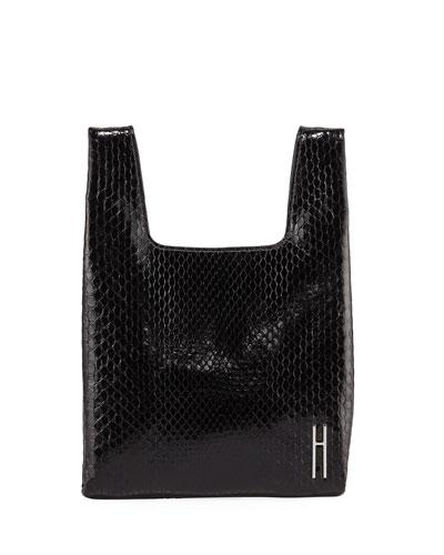 Mini Python Shopper Tote/Clutch Bag