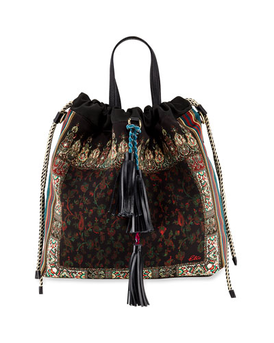Soft Cinch Floral Top-Handle Bag