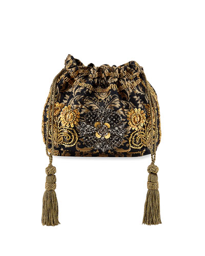 English Rose Embroidered Brocade Shoulder Bag