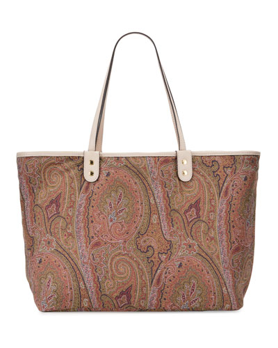 Leather & Paisley Reversible Tote Bag
