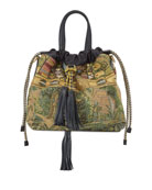 Etro Metallic Tapestry Medium Top-Handle Bag