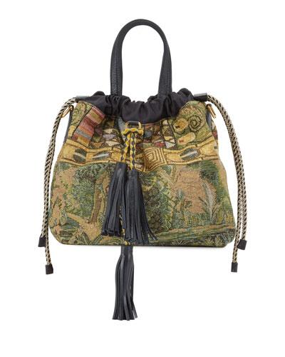 Metallic Tapestry Medium Top-Handle Bag
