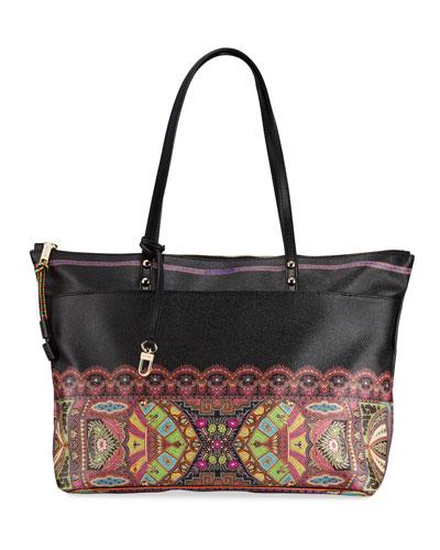 Colorful Bottom-Border Tote Bag