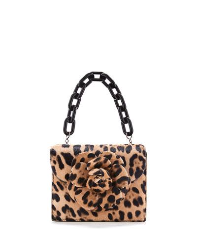 Tro Mini Leopard Shoulder Bag with Flower