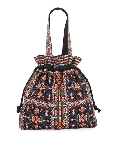 Beatriz Embroidered Drawstring Tote Bag