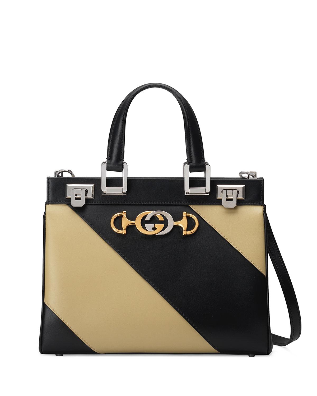f7e859b5fdf Gucci Zumi Small Leather Top-Handle Bag In Black Pattern