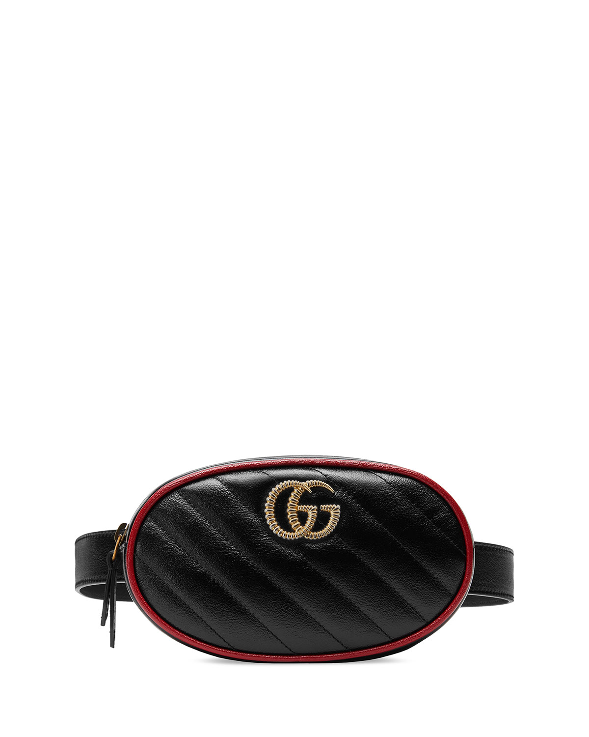 ba243caea859 Gucci Gg Marmont Matelasse Leather Belt Bag - Black In Nero/ Romantic Cerise