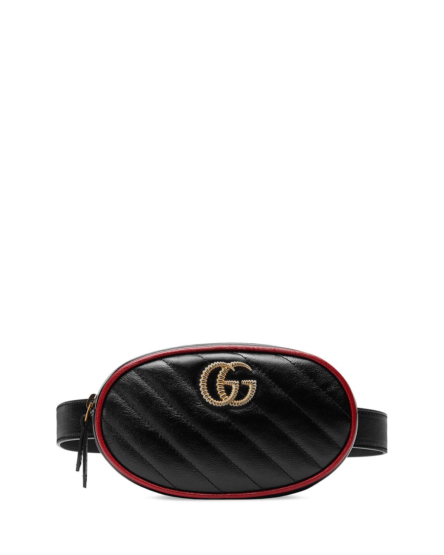 867afafa0e2f0f Gucci Gg Marmont Matelasse Leather Belt Bag - Black In Nero/ Romantic Cerise
