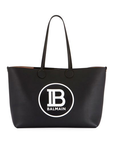 Medium Logo Leather Shopping Tote Bag