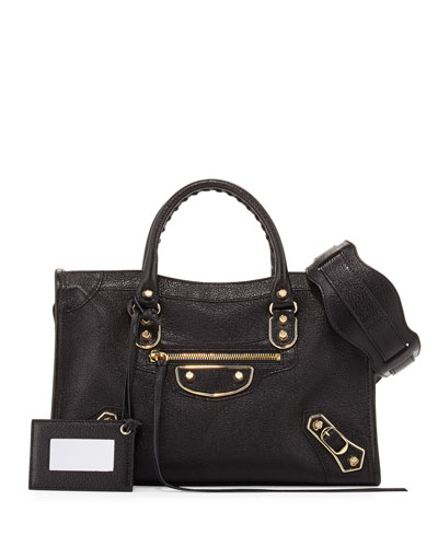 Metallic Edge City AJ Satchel Bag