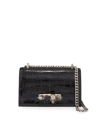 Shiny Croc-Embossed Jeweled Shoulder Bag, Black