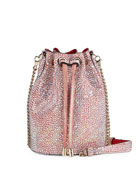 Christian Louboutin Marie Jane Crystal-Studded Suede Bucket Bag