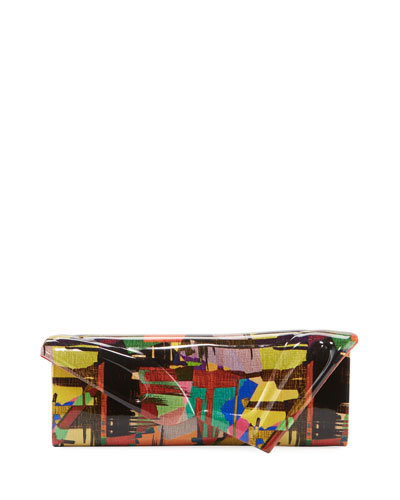 So Kate Multicolored Mosaic Patent Clutch Baguette Bag