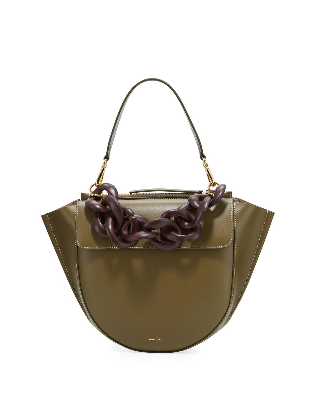 Wandler Hortensia Medium Calf Top-Handle Bag In Green