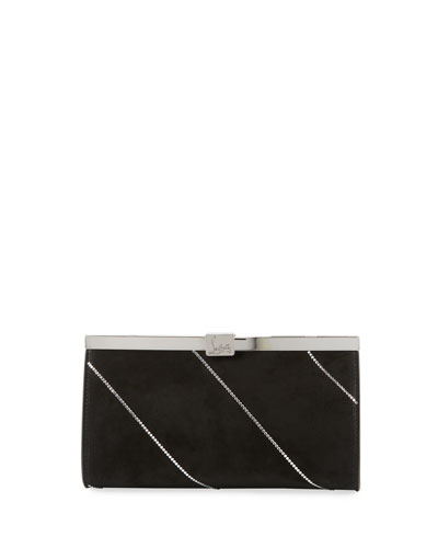 Palmette Small Suede Clutch Bag