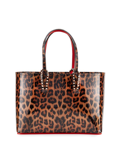 Cabata Small Leopard-Print Patent Tote Bag