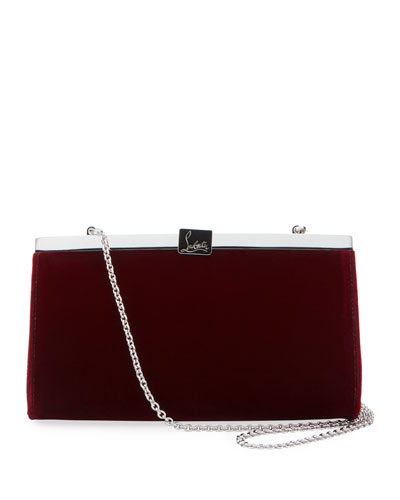 Palmette Small Velvet Clutch Bag