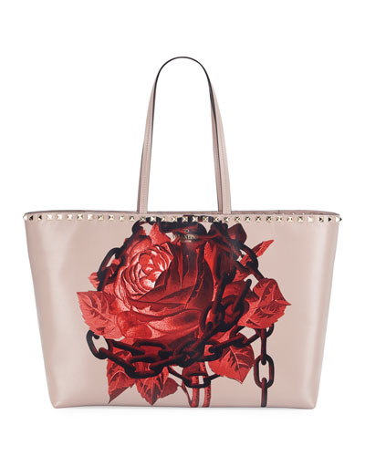 Rockstud Undercover Print Leather Tote Bag