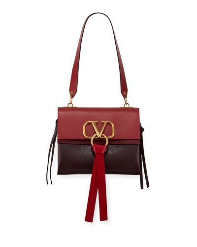 V-Ring Small Colorblock Leather Shoulder Bag