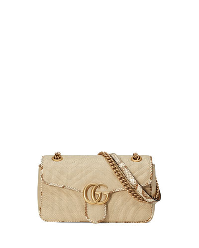 GG Marmont Raffia Shoulder Bag