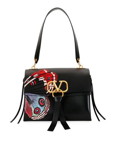 VRING U Butterfly Leather Shoulder Bag