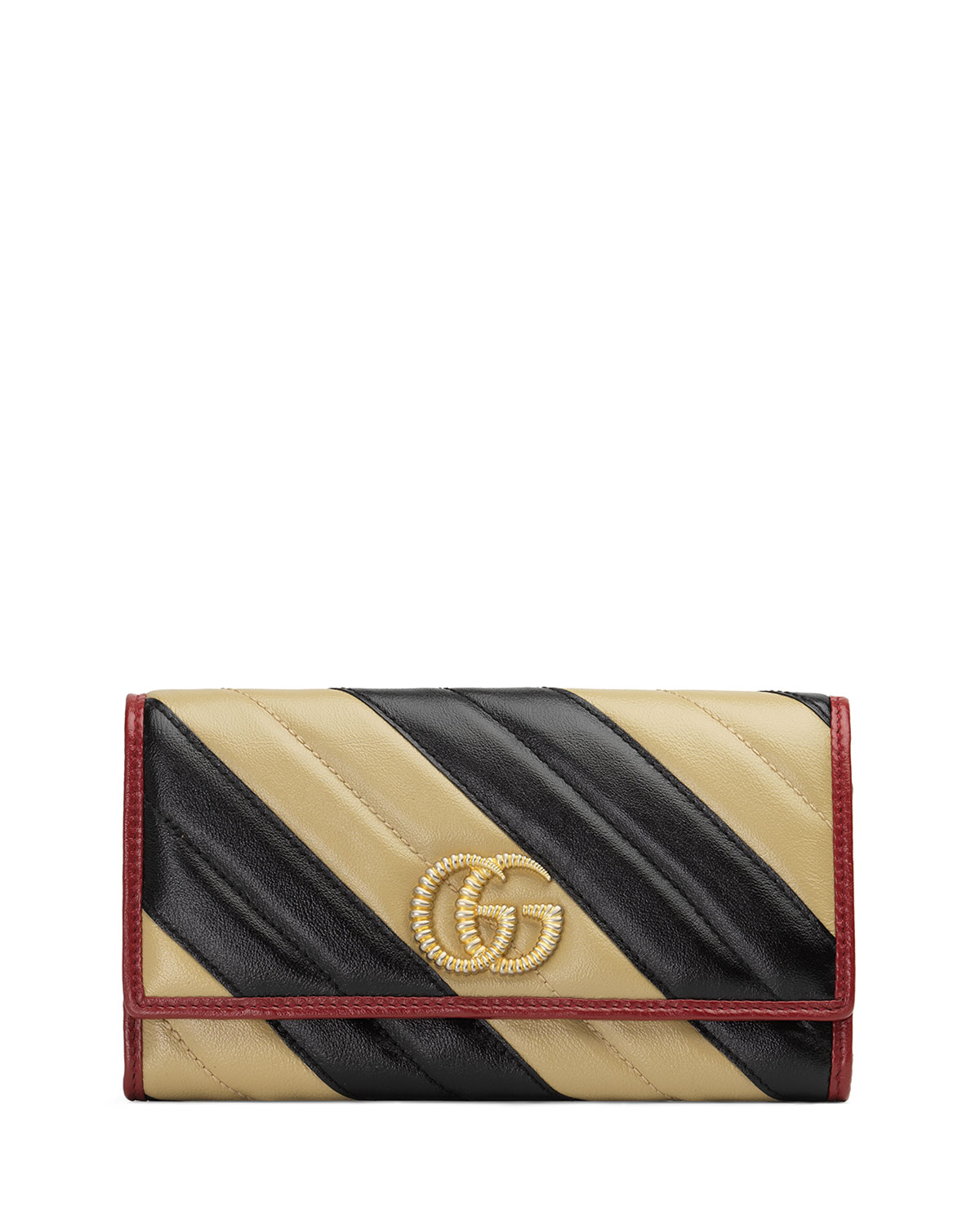 9b2b2d054b6c Gucci Gg Marmont Torchon Continental Wallet In Black/White ...