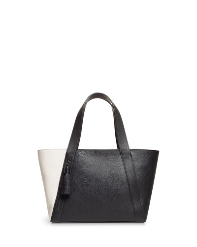 Alexa Small Two-Tone Leather Tote Bag with Tassel