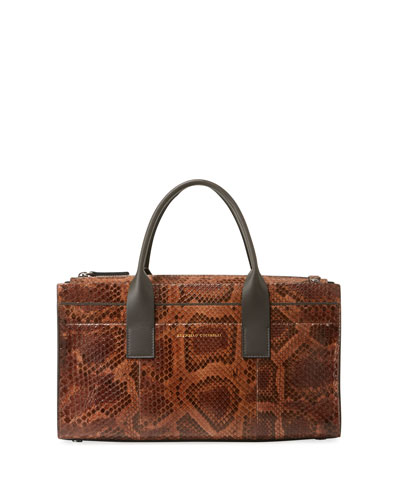 Python East-West Tote Bag with Crossbody Strap