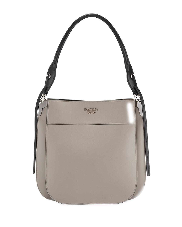 ece55c5a7a008b Prada Margit Calf Leather Shoulder Bag In Gray   ModeSens