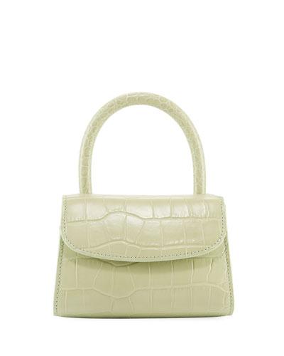 Mini Croc-Embossed Leather Top-Handle Bag, Sage