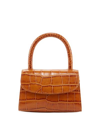 Mini Croc-Embossed Leather Top-Handle Bag, Tan