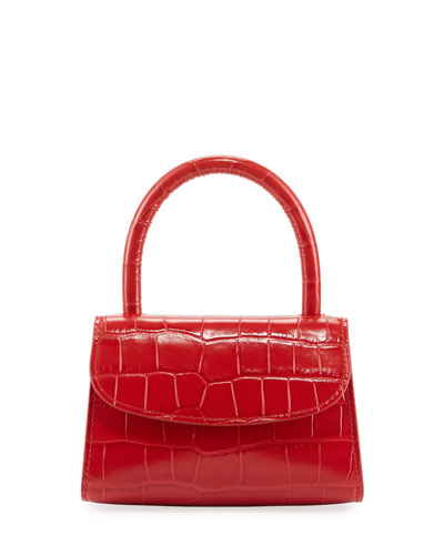 Mini Croc-Embossed Leather Top-Handle Bag, Red