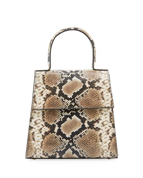BY FAR Monet Snake-Print Top-Handle Bag