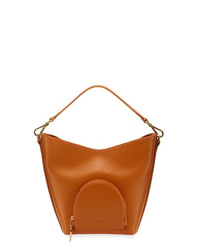 Eva Mini Leather Bucket Bag, Camel