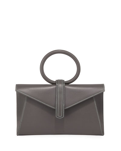 Valery Mini Leather Satchel Bag, Gray